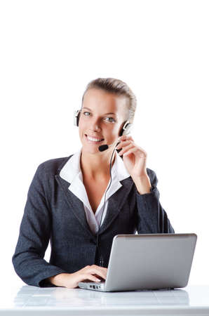Female helpdesk operator on white Stock Photo - 15129523