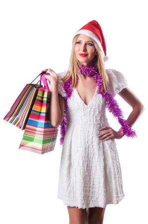 Young woman in christmas shopping concept photo