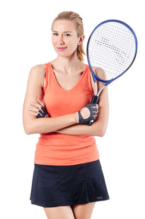 Woman playing tennis on white photo