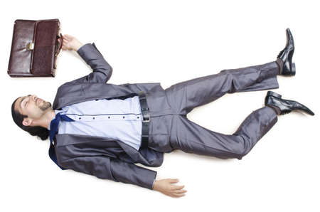 Dead businessman on the floor photo
