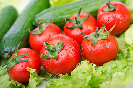 Tomatoes and cucumbers ready for salad