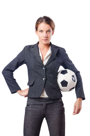 leisure sports: Businesswoman with football on white Stock Photo
