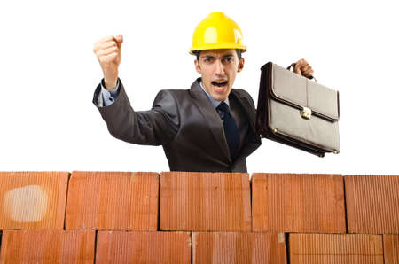 Businessman near brick wall Stock Photo - 15129759