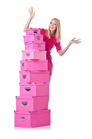 Woman with stack of giftboxes Stock Photo - 15128069