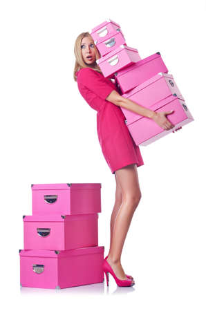 Woman with stack of giftboxes Stock Photo - 15128768