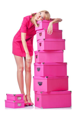Woman with stack of giftboxes Stock Photo - 15129524