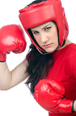 Woman boxer on white background photo