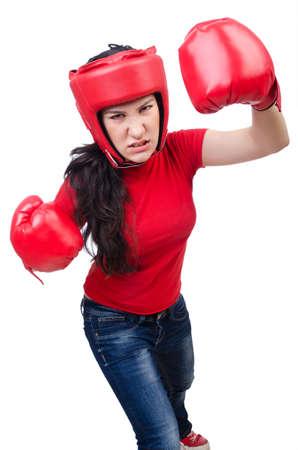 Woman boxer on white background Stock Photo - 15129291