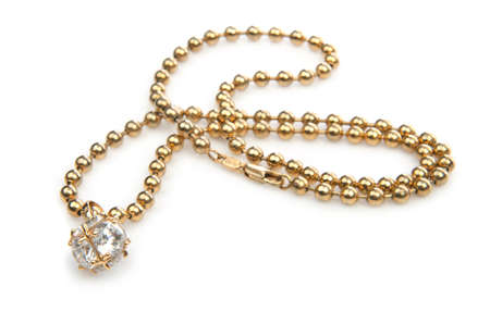 gold jewellery: Necklace isolated on the white