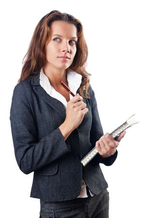 Businesswoman isolated on the white photo