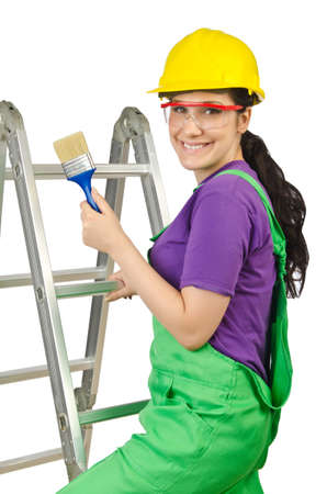 Woman worker with ladder on white photo