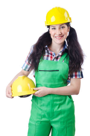 Woman worker on white photo