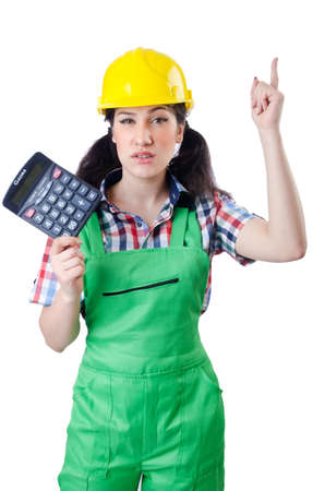 budget repair: Woman builder with calculator on white Stock Photo