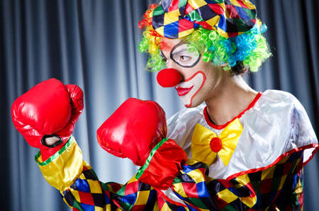 entertainers: Clown with boxing gloves Stock Photo