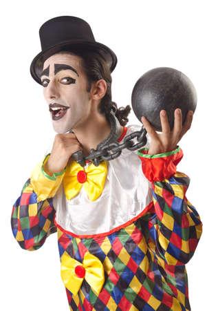 Sad clown on the white Stock Photo - 15299534