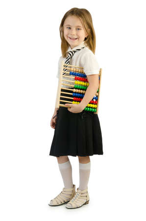 compute: Girl with abacus on white