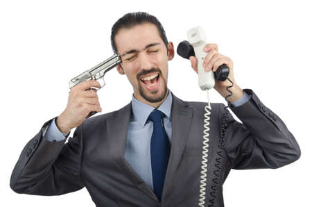 Angry businessman killing the phone photo