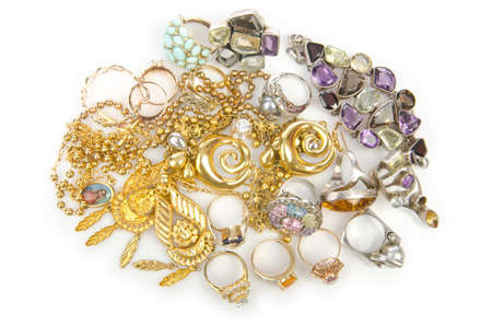 personal accessory: Lots of jewellery on white