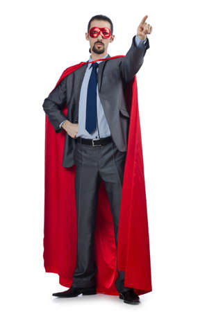 business costume: Superman isolated on the white background Stock Photo