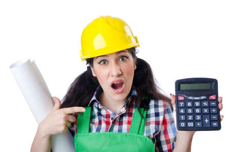 Woman builder with calculator on white Stock Photo - 15508400