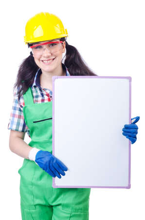 Woman builder with blank board Stock Photo - 15255689