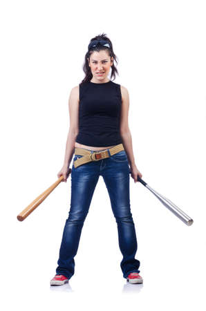 Woman criminal with bat on white Stock Photo - 15250567