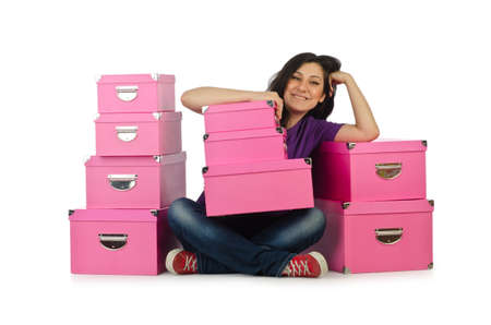 Girl with stack of giftboxes Stock Photo - 15440005