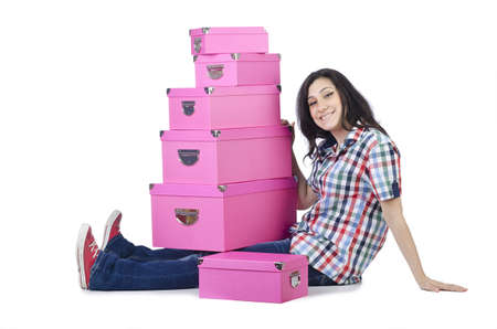 Girl with lots of gifts on white Stock Photo - 15531649