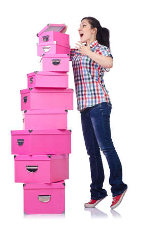 Girl with stack of giftboxes on white photo