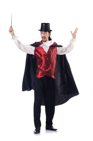 conjuror: Magician isolated on the white background Stock Photo