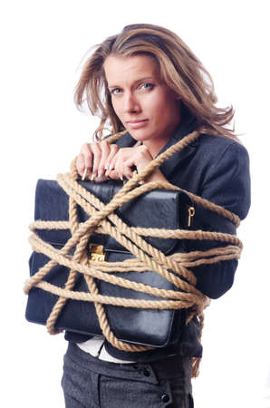 bound woman: Businesswoman tied with rope on white Stock Photo