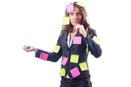 Woman with lots of reminder notes photo