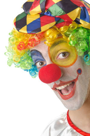 circus clown: Payaso divertido en el blanco