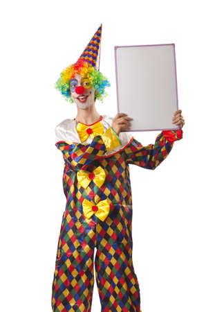 Funny clown on the white photo