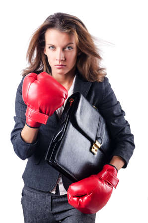 Angry businesswoman with boxing gloves Stock Photo - 15531723
