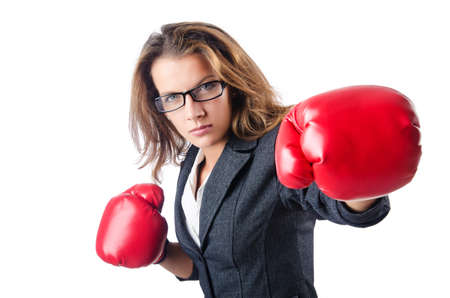 Angry businesswoman with boxing gloves Stock Photo - 15531685