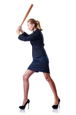 Businesswoman with baseball bat on white photo