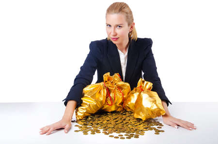 Woman with coins and golden sacks photo