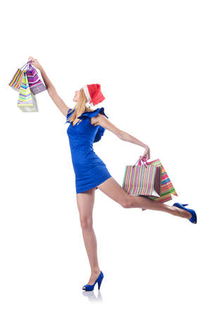 Young woman in christmas shopping concept Stock Photo - 15531623