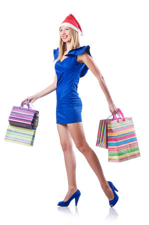 Young woman in christmas shopping concept Stock Photo - 15531638