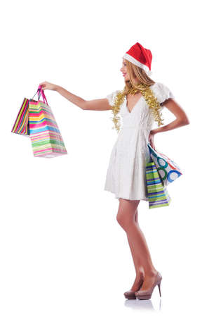 Young woman in christmas shopping concept Stock Photo - 15531633