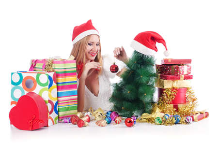 Young woman in christmas shopping concept Stock Photo - 15531701