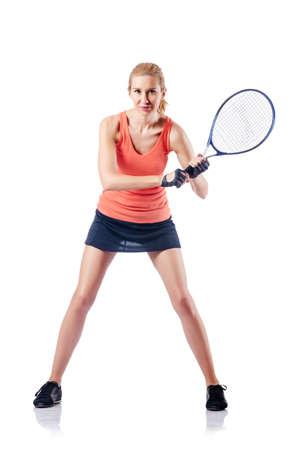 raquet: Woman playing tennis on white Stock Photo
