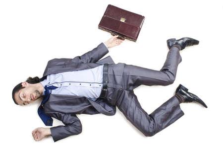 unconscious: Dead businessman on the floor