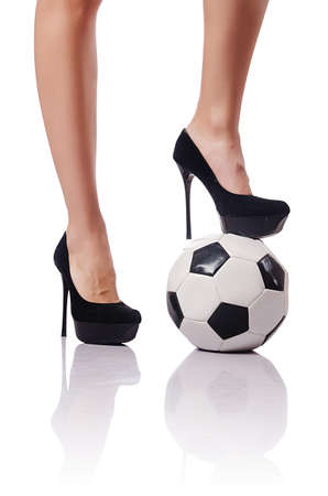 Businesswoman with football on white Stock Photo - 15531652