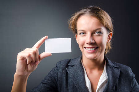 Woman with blank message photo