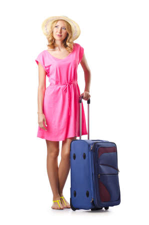 Attrative woman with suitcase on white photo