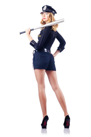 Woman police with baseball bat Stock Photo - 15531621