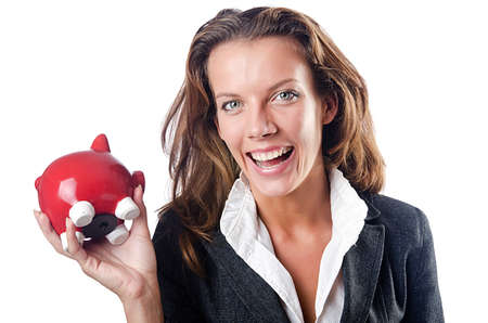 Woman with piggybank on white Stock Photo - 15531717