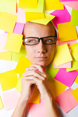 Woman with lots of reminder notes Stock Photo - 15531707
